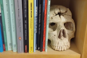 A few of my scripts - with the skull of a former student!